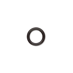 component, oh! ring™, silicone, black, 12mm round with 8mm hole. sold per pkg of 200.