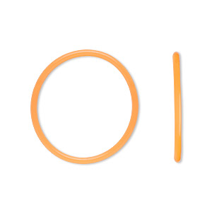 component, oh! ring™, silicone, neon orange, 25mm round with 22mm hole. sold per pkg of 50.