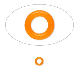 component, oh! ring™, silicone, neon orange, 5mm round with 2.5mm hole. sold per pkg of 500.