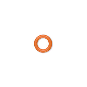 component, oh! ring™, silicone, orange, 10mm round with 6mm hole. sold per pkg of 300.