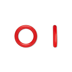 component, oh! ring™, silicone, red, 15mm round with 10mm hole. sold per pkg of 100.