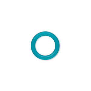 component, oh! ring™, silicone, turquoise blue, 15mm round with 10mm hole. sold per pkg of 100.