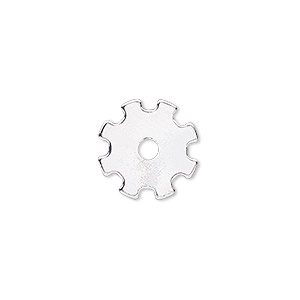component, silver-finished steel, 15mm gear with 2.5mm center hole. sold per pkg of 10.