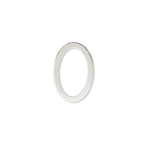 component, silver-plated brass, 18x12mm open oval. sold per pkg of 10.