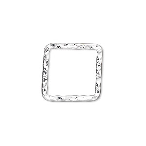 component, silver-plated steel, 20x20mm double-sided hammered open square. sold per pkg of 10.