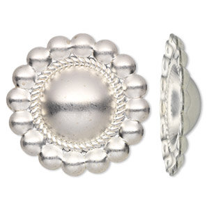 component, sterling silver, 30mm single-sided satin round concho. sold individually.