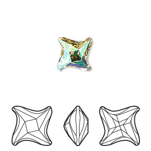 component, swarovski crystal, crystal luminous green, foil back, 10.5mm faceted twister fancy stone (4485). sold per pkg of 96.