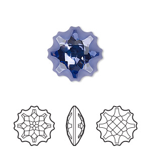 component, swarovski crystal, partially frosted tanzanite, foil back, 14mm faceted jellyfish fancy stone (4195). sold per pkg of 24.