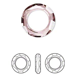component, swarovski crystals, crystal antique pink, 20mm faceted cosmic ring fancy stone (4139). sold per pkg of 24.