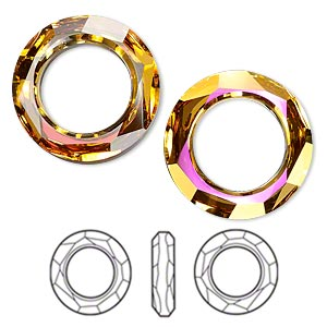 component, swarovski crystals, crystal astral pink, 20mm faceted cosmic ring fancy stone (4139). sold per pkg of 24.