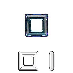 component, swarovski crystals, crystal bermuda blue, 14x14mm faceted square ring fancy stone (4439). sold per pkg of 72.