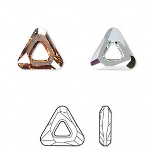component, swarovski crystals, crystal copper cal v si, 14x14x14mm faceted cosmic triangle fancy stone (4737). sold individually.
