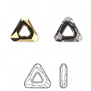 component, swarovski crystals, crystal dorado, 14x14x14mm faceted cosmic triangle fancy stone (4737). sold per pkg of 24.