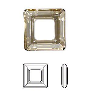 component, swarovski crystals, crystal golden shadow, 20x20mm faceted square ring fancy stone (4439). sold per pkg of 24.
