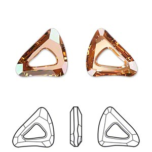 component, swarovski crystals, crystal passions, crystal copper, 16x14mm faceted organic cosmic triangle fancy stone (4736). sold individually.