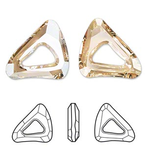 component, swarovski crystals, crystal passions, crystal golden shadow, 23x20mm faceted organic cosmic triangle fancy stone (4736). sold individually.