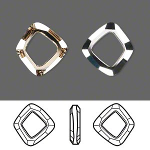 component, swarovski crystals, crystal passions, crystal golden shadow cal v si, 14x13mm faceted cosmic square ring fancy stone (4437). sold individually.