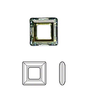 component, swarovski crystals, crystal passions, crystal sahara, 14x14mm faceted square ring fancy stone (4439). sold individually.