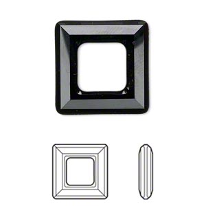component, swarovski crystals, crystal passions, jet, 20x20mm faceted square ring fancy stone (4439). sold individually.