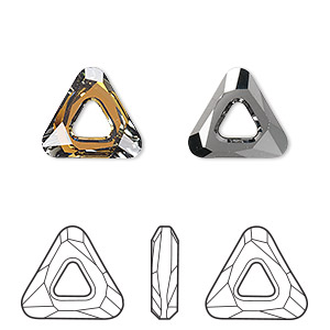 component, swarovski crystals, crystal tabac, 14x14x14mm faceted cosmic triangle fancy stone (4737). sold per pkg of 24.
