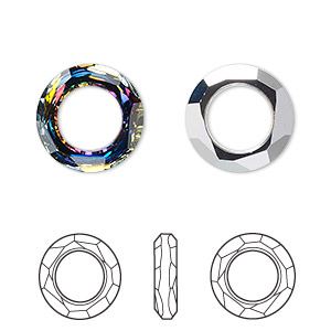 component, swarovski crystals, crystal volcano, 14mm faceted cosmic ring fancy stone (4139). sold per pkg of 72.