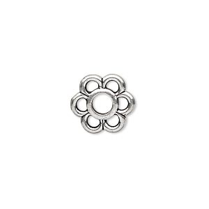 component, tierracast, antique silver-plated pewter (tin-based alloy), 13.5x12.5mm 6-petal open flower with 4mm center hole. sold per pkg of 2.