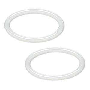 component, zirconia ceramic, white, 29x16mm open oval with 24x11.5mm center hole. sold per pkg of 2.
