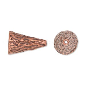 cone, antique copper-plated pewter (tin-based alloy), 19.5x12mm textured round with line design, fits 12-14mm bead. sold individually.