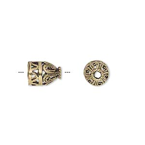 cone, antique gold-finished brass, 10x8mm fancy filigree, 6mm hole. sold per pkg of 10.