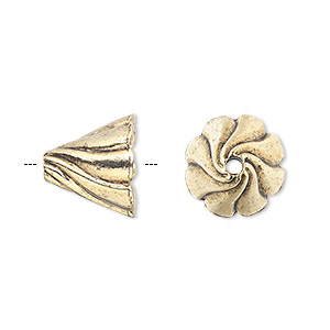 cone, antique gold-plated pewter (tin-based alloy), 13x12mm round with swirl design, fits 12-14mm bead. sold per pkg of 2.
