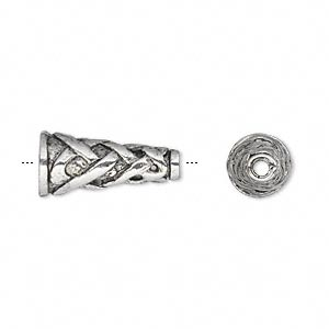 cone, antique silver-plated pewter (tin-based alloy), 19x9mm with wicker design, 8.5mm inside diameter. sold per pkg of 2.