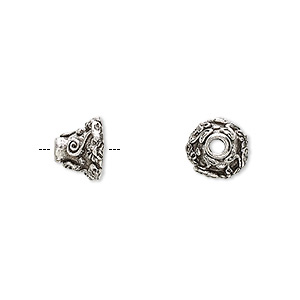 cone, antiqued pewter (tin-based alloy), 9x8mm fancy floral with 6mm inside diameter. sold per pkg of 8.