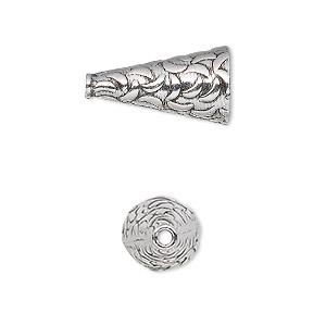 cone, antiqued sterling silver, 19x10mm-22x10mm with crescent pattern, 8.5mm inside diameter. sold individually.