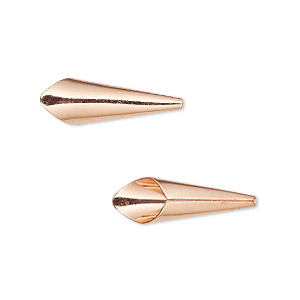 cone, copper-plated brass, 21x7mm smooth, fits 6mm bead. sold per pkg of 12.
