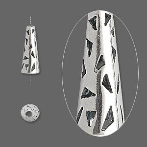 cone, jbb findings, antiqued sterling silver, 14x5mm with cutout triangles, 3.5mm inside diameter. sold per pkg of 2.