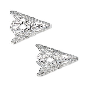 cone, silver-plated aluminum, 20x17mm filigree, fits 14mm bead. sold per pkg of 25.