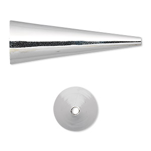 cone, sterling silver, 38x13mm, 12.5x11mm inside diameter. sold per pkg of 2.