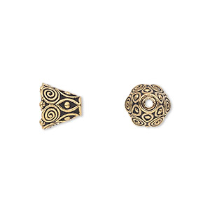 cone, tierracast, antique gold-plated pewter (tin-based alloy), 9x8.5mm beaded with swirls, 6mm inside diameter. sold per pkg of 2.