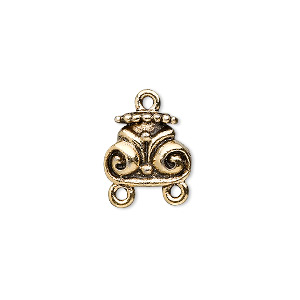 connector, antique gold-plated pewter (tin-based alloy), 12x10mm swirl design, 2 loops. sold per pkg of 4.