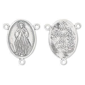 connector, antiqued sterling silver, 22x16mm double-sided oval rosary center, jesus divine mercy with 3 loops, pray for us on back. sold individually.