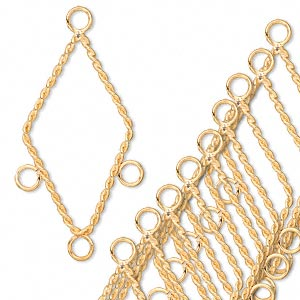 connector, gold-plated brass, 30x17mm twisted diamond with 3 loops. sold per pkg of 10.