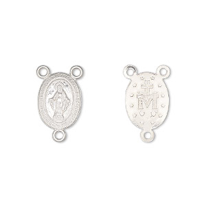 connector, sterling silver, 12x10mm two-sided oval rosary with mother mary. sold individually.