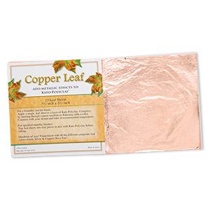 copper leaf sheet, 100% copper, 5-1/2 x 5-1/2 inches. sold per pkg of 25 sheets.