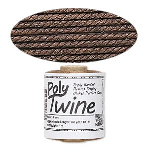cord, 3-ply bonded polyester twine, brown, 1mm diameter. sold per 2-ounce spool.