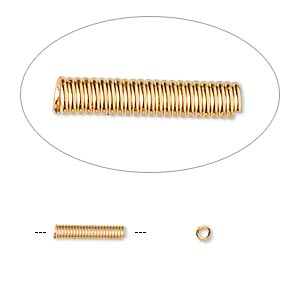 cord coil, gold-finished brass, 10x2mm with 1mm inside diameter. sold per pkg of 100.