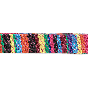 cord, cotton and polyurethane, multicolored, 10mm flat with line design. sold per pkg of 1 meter.