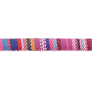 cord, cotton, pink and multicolored, 6-7mm round with line design. sold per pkg of 1 meter.