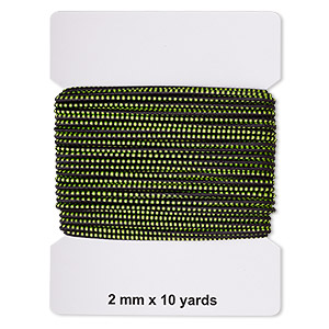 cord, elastic rubber and nylon, black and green, 2mm diameter with dots. sold per pkg of 10 yards.