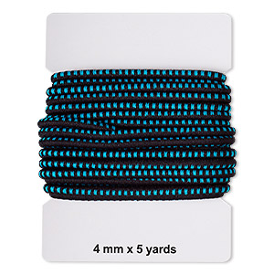 cord, elastic rubber and nylon, black and turquoise blue, 4mm diameter with dots. sold per pkg of 5 yards.