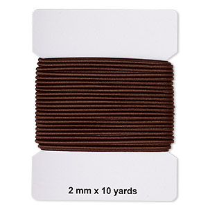 cord, elastic rubber and nylon, dark brown, 2mm diameter. sold per pkg of 10 yards.